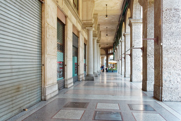 Milan, Italy August 20, 2018: Arch with columns on the streets of the city.