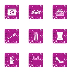 Fulfill icons set. Grunge set of 9 fulfill vector icons for web isolated on white background