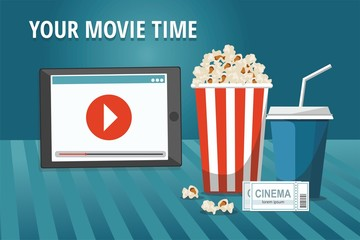Cinema concept poster with tablet, popcorn bowl, drink and tickets