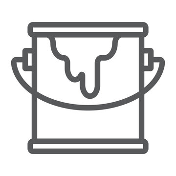 Bucket of paint line icon, paint and container, can sign, vector graphics, a linear pattern on a white background.