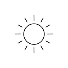 Sun line icon, outline vector sign, linear style pictogram isolated on white. Sunny weather symbol, logo illustration. Pixel perfect