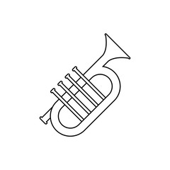 Outline Trumpet Icon isolated on grey background. Modern simple flat symbol for web site design, logo, app, UI. Editable stroke. Vector illustration.