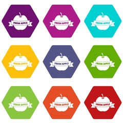 Fresh apple icons 9 set coloful isolated on white for web