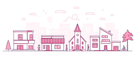 Town street - modern thin line design style vector illustration