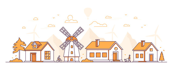Country landscape - modern thin line design style vector illustration