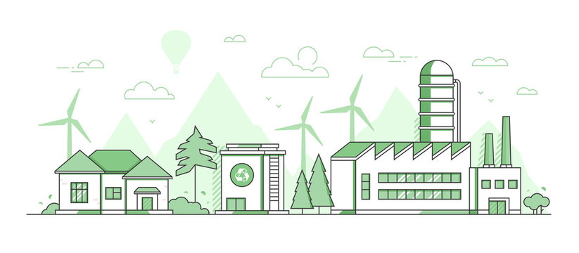 Eco manufacturing - modern thin line design style vector illustration