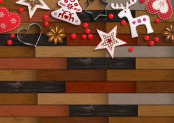 Christmas background with parquet pattern and decorations
