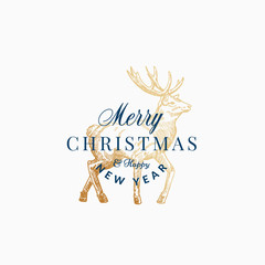 Merry Christmas Abstract Vector Retro Label, Sign or Card Template. Hand Drawn Golden Reindeer or Deer Sketch Illustration with Vintage Typography.