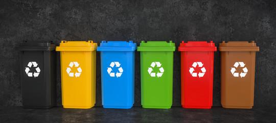 3D Illustration Mülltrennung Betonwand