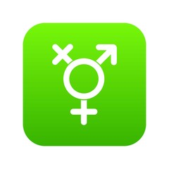 Transgender sign icon digital green for any design isolated on white vector illustration