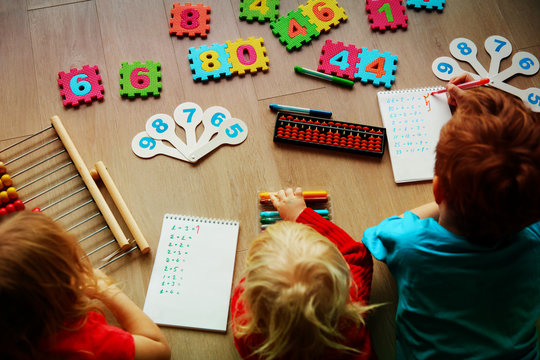 kids- boy and girls- learning numbers, abacus calculation