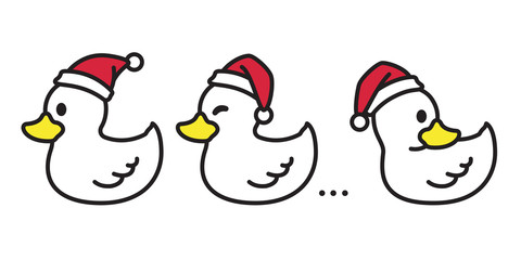duck vector Christmas vector Santa claus Xmas icon logo cartoon character illustration white
