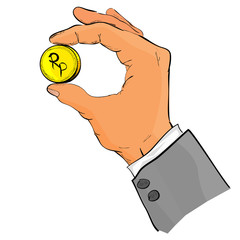 sketch of Hand Give or Holding Golden Rupiah coin