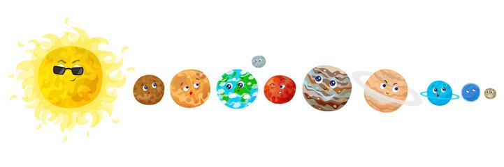 Cartoon planets vector illustration.