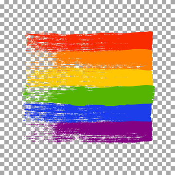 Brush strokes in LGBT flag colors isolated on transparent background. Vector illustration.