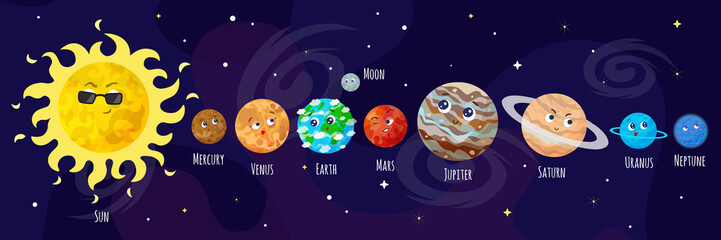 Cartoon planets vector illustration.