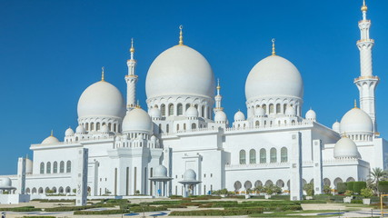 Sheikh Zayed Grand Mosque timelapse in Abu Dhabi, the capital city of United Arab Emirates