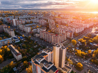 TOMSK, RUSSIA Panoramic view of city Autumn, Tom river. Drone aerial top view.