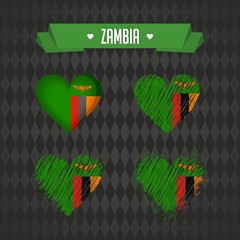 Zambia with love. Design vector broken heart with flag inside.
