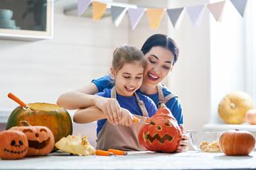 family preparing for Halloween.