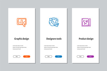 Graphic design, Designers tools, Product design onboarding screens