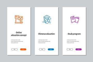 Online education concept, Distance education, Study program onboarding screens