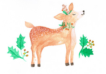 Watercolor illustration of cute deer, christmas themed