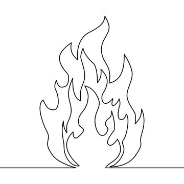 Continuous line fire one line drawing vector fire