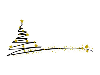 Merry christmas background with christmas tree and gold star, vector.