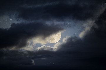 Cloudy full moon sky