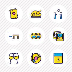 Vector illustration of 9 celebration icons colored line. Editable set of night club, turkey, cheers and other icon elements.
