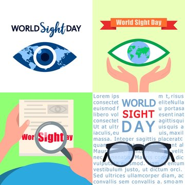 World sight day banner set. Flat illustration of world sight day vector banner set for web design