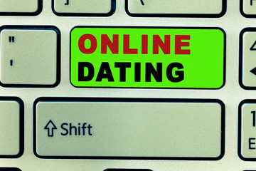 Text sign showing Online Dating. Conceptual photo Searching Matching Relationships eDating Video Chatting.