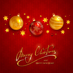 Text Merry Christmas on red background with Christmas balls