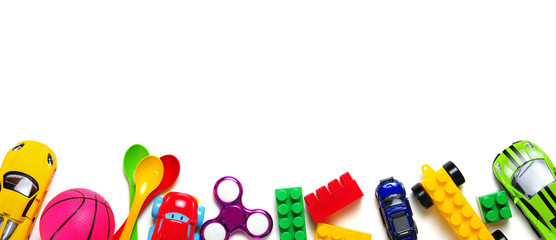 Toys frame on white background.