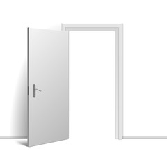 Realistic open door on white background