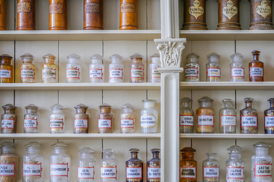 Old cupboard of a pharmacist