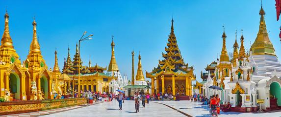Panorama of Shwedagon Zedi Daw with ornate image house, Yangon, Myanmar