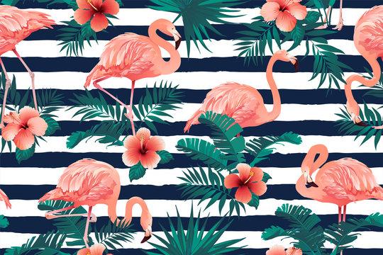 Beautiful Flamingo Bird Tropical Flowers Background. Seamless pattern vector.