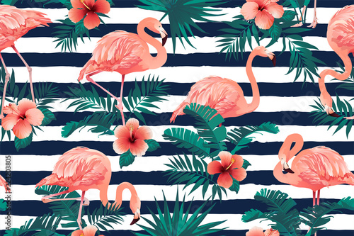 328c83a61 Beautiful Flamingo Bird Tropical Flowers Background. Seamless ...