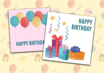 Birthday Social Media Post Layouts with Party illustrations