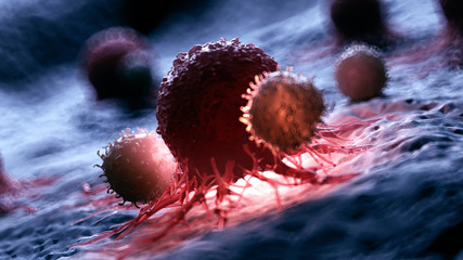 3d rendered medically accurate illustration of white blood cells attacking a cancer cell