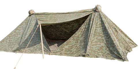 military tent isolated on white
