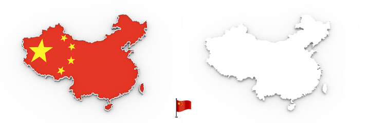 3D map of China white silhouette and flag