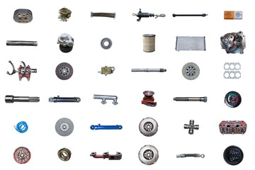 Auto spare parts car on the white background. Set with many isolated items for shop or aftermarket