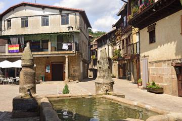 Main square of  San Martin del Castanar; Sierra de Francia Nature Reserve; Salamanca province; Castilla Leon; Spain