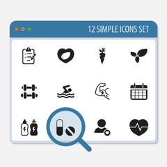Set of 12 editable exercise icons. Includes symbols such as energy drink, carrot, calendar and more. Can be used for web, mobile, UI and infographic design.