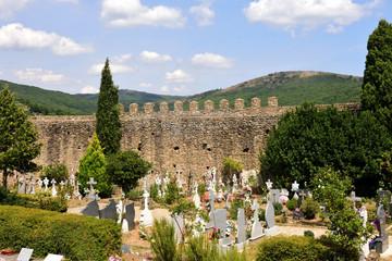 Cemetery and tower of San Martin del Castanar, Sierra de Francia Nature Reserve, Salamanca province, Castilla Leon, Spain