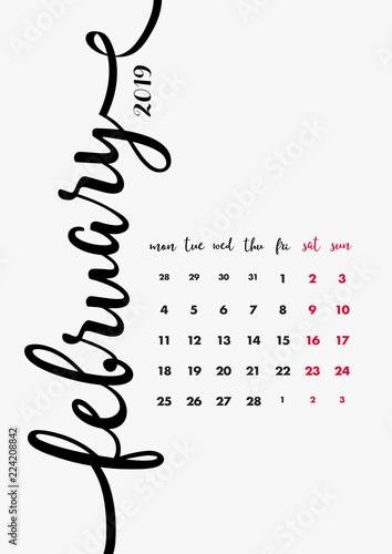 2019 Table Calendar Design 12 Months Desk Diary February 2019