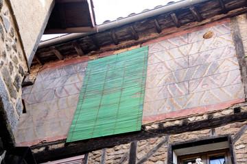 Fresh paint.of a facade old town,  Miranda del Castanar; Sierra de Francia Nature Reserve; Salamanca province; Castilla Leon; Spain
